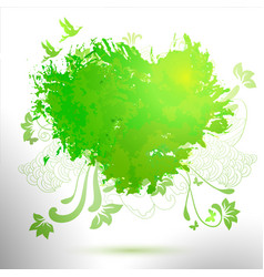 green ecology hand drawing watercolor vector image