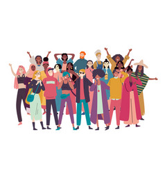 Group diverse people mixed race crowd vector