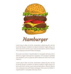 Hamburger fast food poster vector