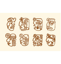 hand drawn of maya icons on vector image