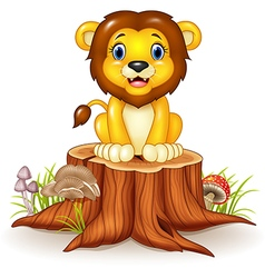 Happy cartoon lion sitting on tree stump vector image