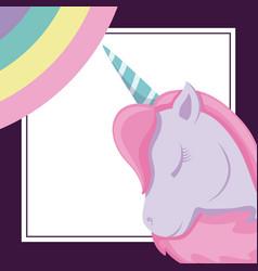 head cute unicorn with rainbow of fairy tale vector image