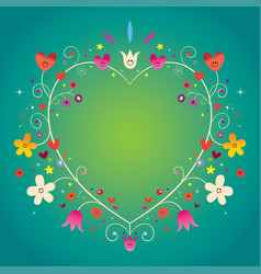 heart shaped ornamental decorative romantic frame vector image