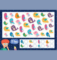 I spy game for kids find and count cute birds vector