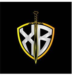 Initials x b is a shield decorated vector