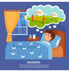 Insomnia People Problems Flat Poster vector