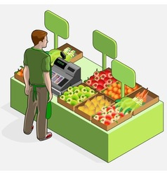 Isometric Greengrocer Shop - Man Owner - Rear View vector