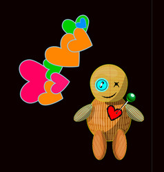 Little toy with acute pin pierced rag heart vector