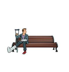man broken leg park bench vector image
