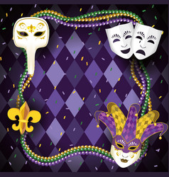 Mardi gras celebration with necklace balls vector