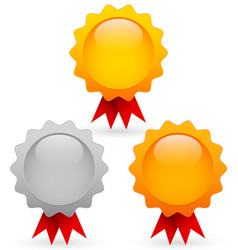 Medalaward set in gold silver and bronze vector