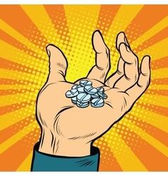 Medical pills in hand vector