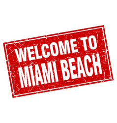 Miami beach red square grunge welcome to stamp vector