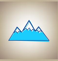 mountain sign sky blue icon vector image
