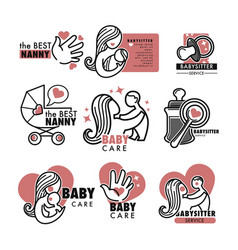 Nanny service or babysitter agency isolated icons vector