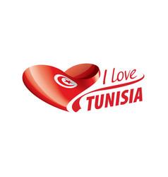 National flag tunisia in shape a vector
