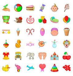 Newborn icons set cartoon style vector