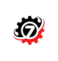 Number 7 gear logo design template vector