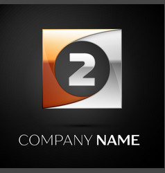 Number two logo symbol in the colorful square on vector