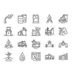 Oil and petroleum line icon set vector
