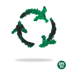 Oil painted recycling symbol vector