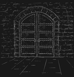 Old castle doors hand drawn sketch vector