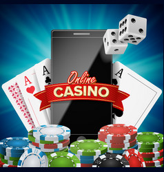 Online casino banner realistic smart phone vector