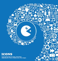 Pac man icon sign Nice set of beautiful icons vector