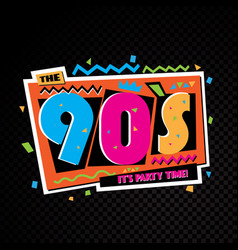 party time 90s style label vector image