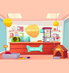 pet shop interior domestic animal store with desk vector image