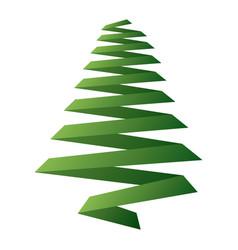 pine tree ribbon shape christmas decoration image vector image