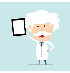 Professor hold touch screen device vector image