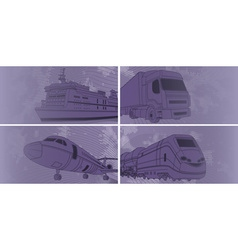 Purple of Transport Icons vector