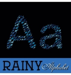 Rainy drops alphabet with numbers vector