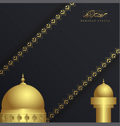 ramadan kareem islamic greeting card with mosque vector image