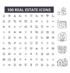 real estate editable line icons 100 set vector image