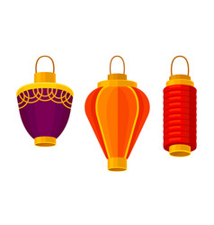 Red chinese lanterns cylindrical shape vector