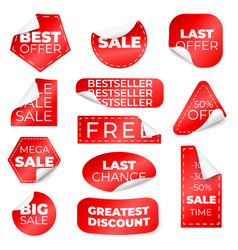 red curled sale stickers discount labels vector image