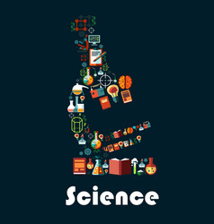 Science poster with microscope symbol vector