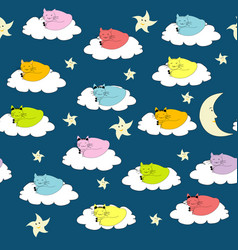 seamless background with cartoon cats sleeping vector image