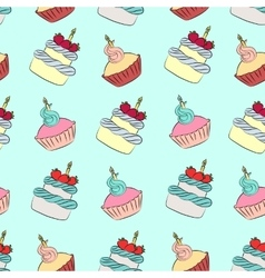 Seamless cream cupcake and cake pattern vector image