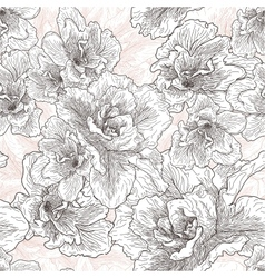 Seamless hand drawn pattern with hibiscus flowers vector image