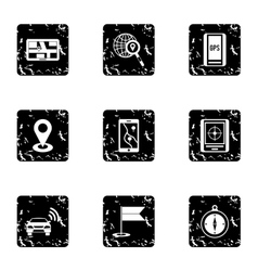 Search territory icons set grunge style vector