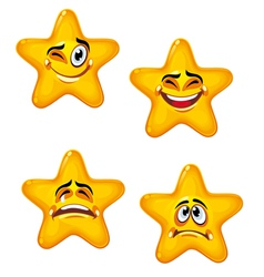 Set of glossy cartoon stars vector
