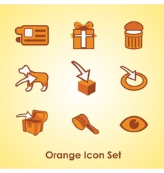 Set of nine different orange objects vector image