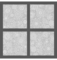 Set of patterns with flowers Ornate zentangle vector image