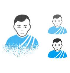 Shredded pixel halftone patrician citizen icon vector