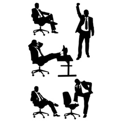 Silhouettes business men posing vector
