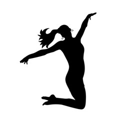 Silhouettes dancing jumping girl vector