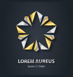 Silver and Gold star logo Award 3d icon Metallic vector image